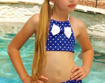 Polka Dot Bikini - Girls Swimsuit - Two Piece Swimsuit - Halter Swimsuit - Blue Bathing Suit - White Swimsuit - 4th of July Swimsuit - Swim