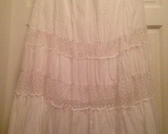 Boho skirt, Maxi skirt, Cotton skirt, Prairie Skirt, Lace Skirt, Boho Gypy Maxi Skirt, Elastic Waistband with lace