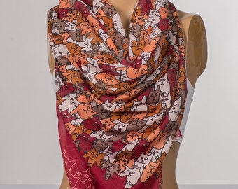 Red and Orange and Mink Cats Scarf. Long Scarf Wrap. Spring neck wrap shawl. NEW Women neck wrap.