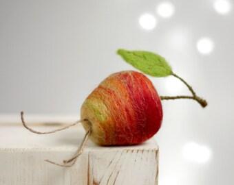 Needle Felt Apple - Cottage Decoration A Apple - Needle Felted Red Apple - Easter Home Decor - Red Apple Easter Ornament - Red Home Decor