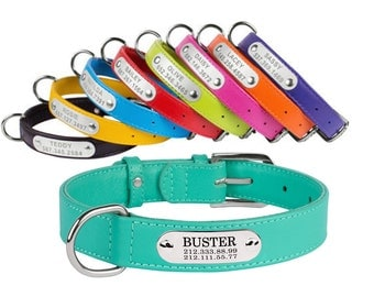 Dog Collar Personalized Leather Nameplate Optional Pink Red Green Blue Purple Small Medium Large Soft Christmas Gift