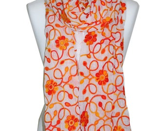 Embroidered Orange Scarf / Chiffon Scarf with White lace / Spring Summer Scarf / Floral Scarf/ Womens Scarf / Gift For Her / Accessories