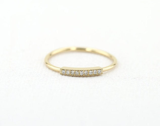 Pave Ring/ Micro Pave Ring/ 14K Gold  Diamond Wedding Band/ Pave Bar Ring/  Wedding Diamond Band/ Diamond ring/ Stackable gold band