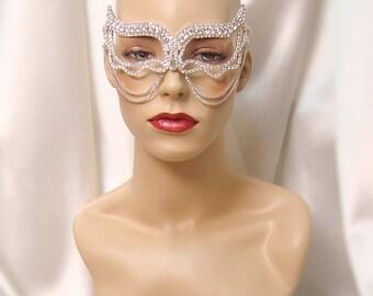 Crystal Rhinestone Metal Mask, Masquerade Mask, Mardi Gras Mask, 50 Shades, Wedding Mask, Prom Mask