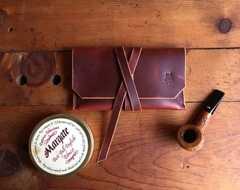 Leather Pipe Tobacco Pouch * Ready to Ship! * Handmade Pipe Pouch * Tobacco Pouch * EDC / Utility Pouch * The Gent * Sorringowl & Sons *