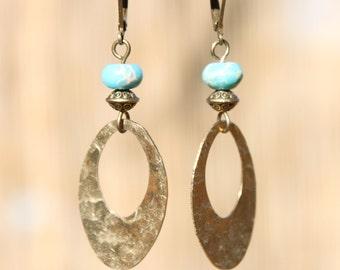 Boho Earrings Bohemian Earrings Turquoise Earrings Boho Chic Earrings Hoop Drop Dangle Earrings Jewelry Gift Ideas gift for her