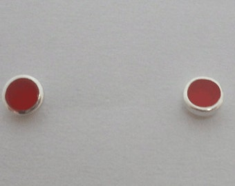 925 Sterling Silver Tiny Small RED Button Ball Stud Earrings 3 mm Diameter