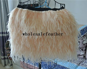 40cm length ostrich feather skirt of ivory cream color for dancewear supply party dress