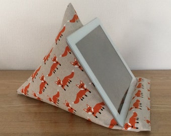 Tablet pillow, iPad stand, fox fabric orange and beige, iPhone stand, iPod holder, kindle e-reader pilllow, gadget cushion