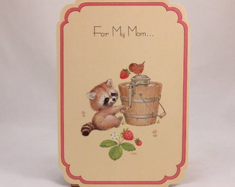 Mothers Day Greeting Card and Envelope. Love 'n Kisses by Drawing Board. Raccoon Strawberry
