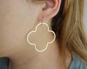 Gold quatrefoil earrings, statement earrings, dangle earrings, boho jewelry, beach chic, trendy jewelry, etsy finds