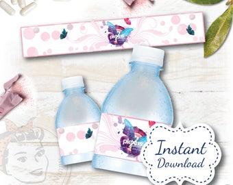 Water Bottle Label - Butterfly Kisses INSTANT download DIGITAL FILE