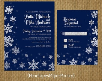 Elegant Navy Winter Wedding Invitation,Snowflakes,Silver Glitter Print,Shimmery,Romantic,Custom,Printed Invitation,Wedding Set,Envelope