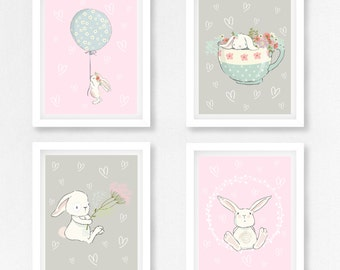 Baby Girl Nursery Decor, Rabbit Nursery Art, Bunny Nursery Decor, Pink and Grey Nursery Wall Art, Bunny Prints, New Baby Girl Bunny Gift