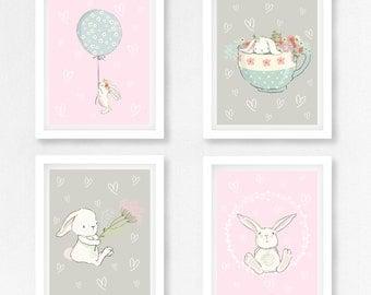 Baby Girl Nursery Decor, Rabbit Nursery Art, Bunny Nursery Decor, Pink and Grey Nursery Wall Art, Bunny Prints, New Baby Girl Bunny Gift