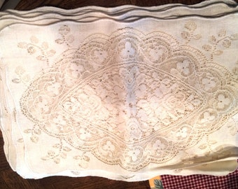 10 Ivory Color easy care Lace Placemats Place Mats