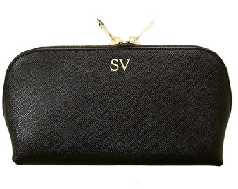 PERSONALISED MONOGRAMMED Genuine Leather Cosmetic Make Up Bag Case Women's Black Gift