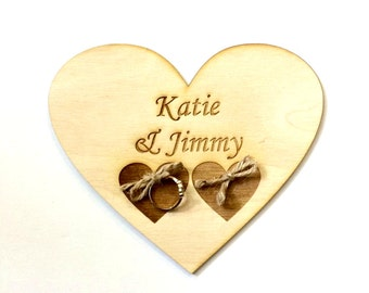 Rustic wedding ring bearer pillow alternative - heart with twine personalized with names