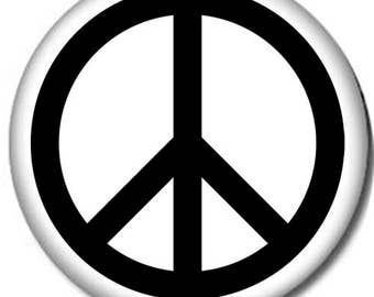 Peace Sign Pin-Back Button- 6 Sizes-Classic Hippy Love Woodstock 70s Hippie
