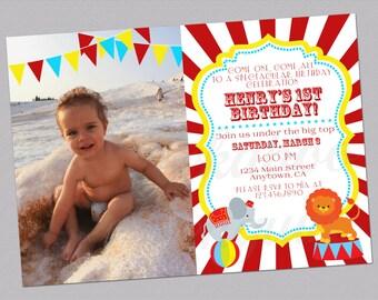 Circus First Birthday Invitation, Carnival Party Invitation, Photo Birthday Invite, Kids Birthday Invitation, Big Top, Printable Invites
