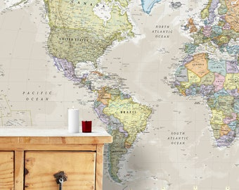 Executive world map canvas print wall map gift gift for giant classic world map mural home decor push pin map world map gumiabroncs Image collections