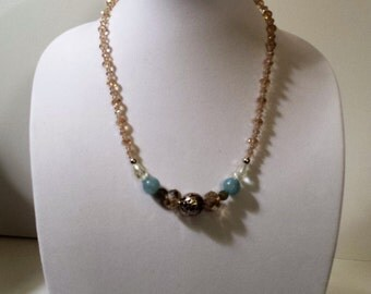 Beige and blue mixed-bead necklace