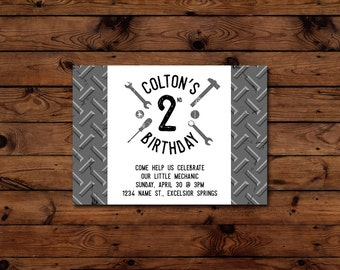 Printable Little Mechanic Birthday Invitation - 5x7