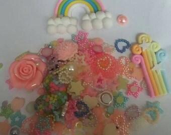 Rainbow flower Decoden / embellishment bundle
