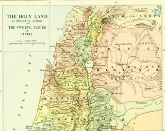 1910 Antique Map of Palestine Israel Holy Land Antique Israel map