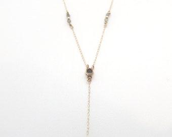 Labradorite Y-Necklace | 14k Solid Gold | Bezel Setting |