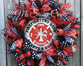 Firefighter Wreath - Firefighter Deco Mesh Wreath - Firefighter Door Hanger - Firefighter Decoration - Firefighter Home Decor