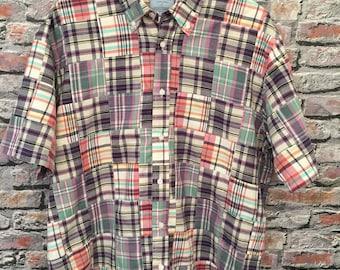 Vintage Madras Men's Short Sleeve Buttondown Shirt   Size Large