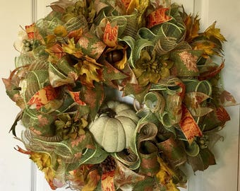 Fall Wreath, Fall Mesh Wreath, Fall Burlap Wreath, Harvest Wreath, Fall Green Wreath, Fall Decor, Thanksgiving Wreath