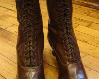 Antique Victorian or Edwardian Era Brown Leather Lace Up Granny Boots * Unworn!