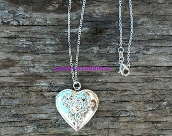 Pendant frame necklace/ heart pendant/ locket/ silver plated/ jewelry/ gift/ anniversary/ for her/ love