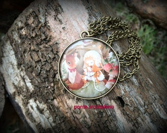 Vintage necklace with romantic glass cammeo/ bronze/ pendant/ nature/ fairy/ jewelry/ gift/ fairy girl/