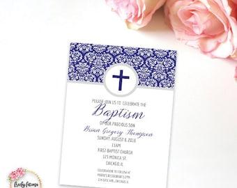 Blue or Pink - Baby Baptism Christening Dedication Invitation - Damask - Printable Invitation - Digital Invitation