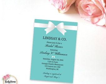 Bride and Co. - Bridal Shower Invitation - Teal and White - Printable Invitation - Digital Invitation