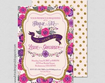 Flower Bridal Tea Party Invitation 1, Bridal Shower Invitation Customized, Digital File