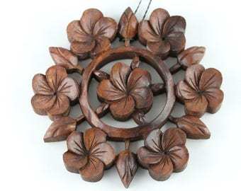 Flower Wall Hanging - 8 inch Carved Flowers - Round Carved Flower Art - Flower Wooden Carving