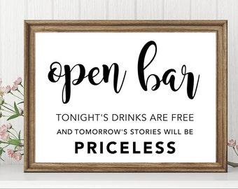Open Bar Sign   Open Bar Sign Wedding   Signature Drink Sign   Wedding Signs Welcome   Bar Sign   Bar Sign Wedding   Wedding Reception Decor