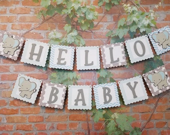 Hello Baby Elephant Baby Shower Banner, Baby Boy Shower Banner, Baby Shower Decor, Hello Baby Banner, Elephant Baby Shower Decorations