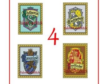 4 Harry Potter Cross Stitch Patterns, Slytherin, Gryffindor, Ravenclaw, Hufflepuff, Harry Potter Cross stitch Pack, Set