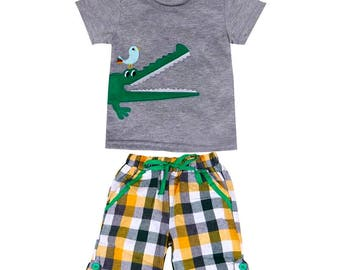 Baby Boy's Infant / Toddler 2 PC Alligator Clothing Set - Boutique Fashion Clothing - Spring / Summer