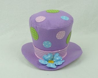 "6"" Purple Plush Top Hat w/ Polka Dots/Wreath Supplies/Easter Decor/61956PU"