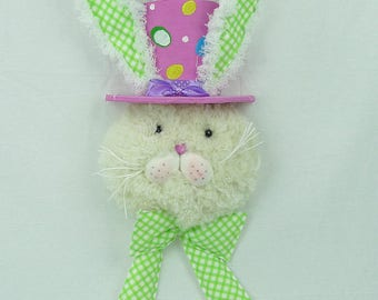 "21.75"" Bunny Head w/ Polka Dot Top Hat & Bow Tie/Wreath Supplies/Easter Decor/61999EAS"