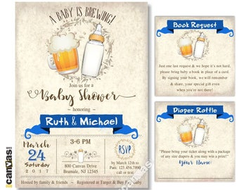 Coed Baby Shower Invitation, Beer Baby Boy Shower, A Baby is Brewing, Dads Shower, Beer Mug, Baby Bottle, Brewing Invites, Royal Blue BS310