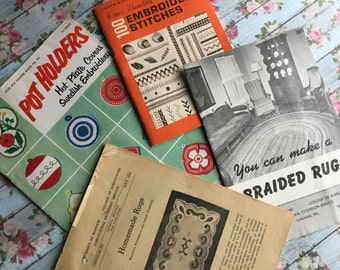 Lot of Four Vintage Needlecraft Books - Embroidery, Crochet and Rug Making - Circa 1940s and 1950s