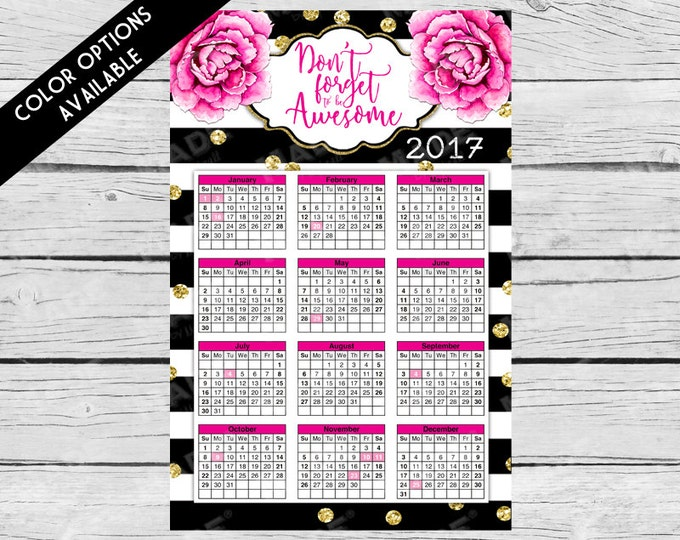 2017 POSTER CALENDAR - Pink Peonies - Don't Forget to be Awesome, 11.25x17.30 Vertical Calendar, Get Organized, Organization, New Year
