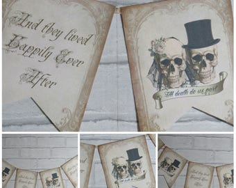 Bride & Groom Skull Bunting/Garland Banner Wedding - Decoration,Decor,Gothic, Happily Ever After